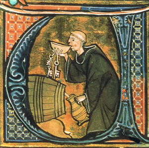Monk drinking booze