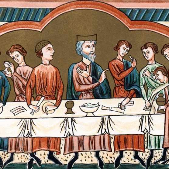 A Plantagenet king of England dining.