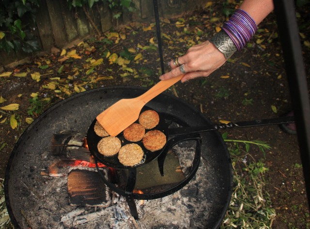 Oatcakes cooking